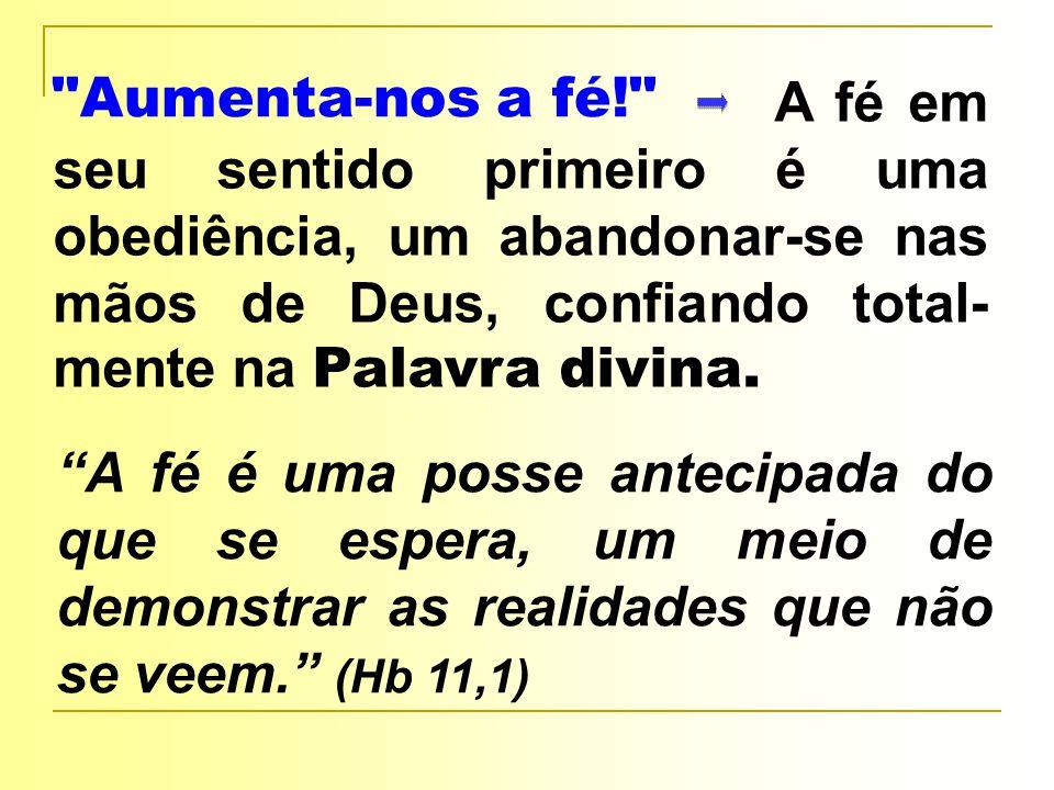 Aumenta-nos a fé! A fé em seu sentido primeiro é uma obediência, um abandonar-se nas mãos de Deus, confiando total- mente na Palavra divina.