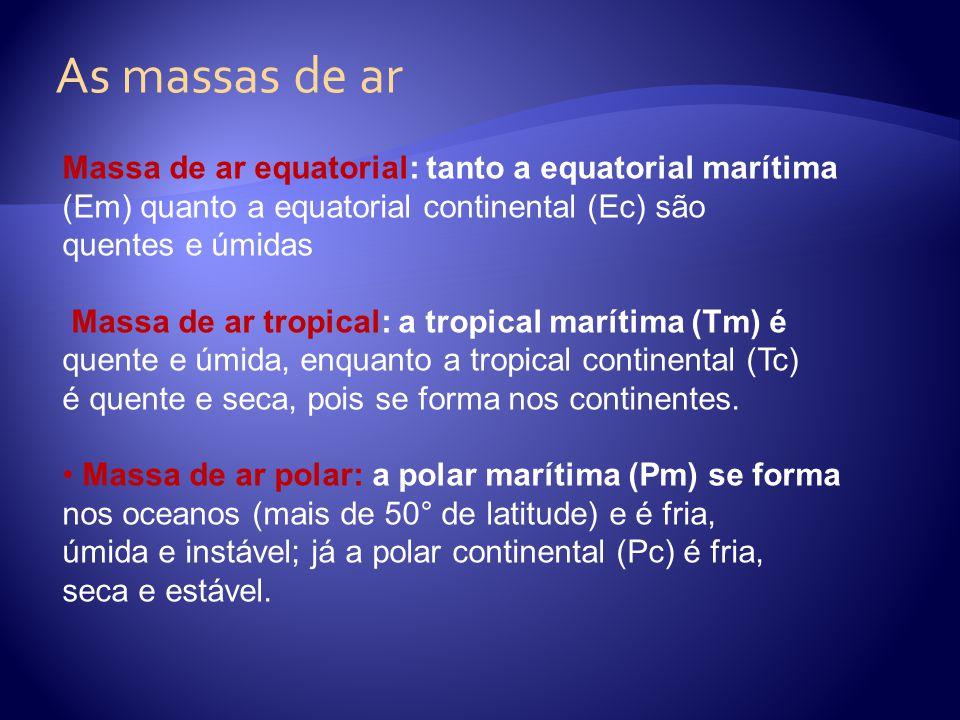 As massas de ar Massa de ar equatorial: tanto a equatorial marítima