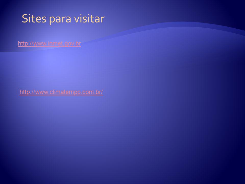 Sites para visitar http://www.inmet.gov.br