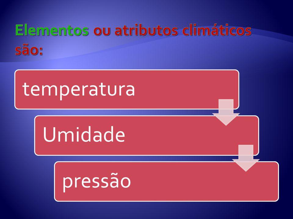 Elementos ou atributos climáticos são: