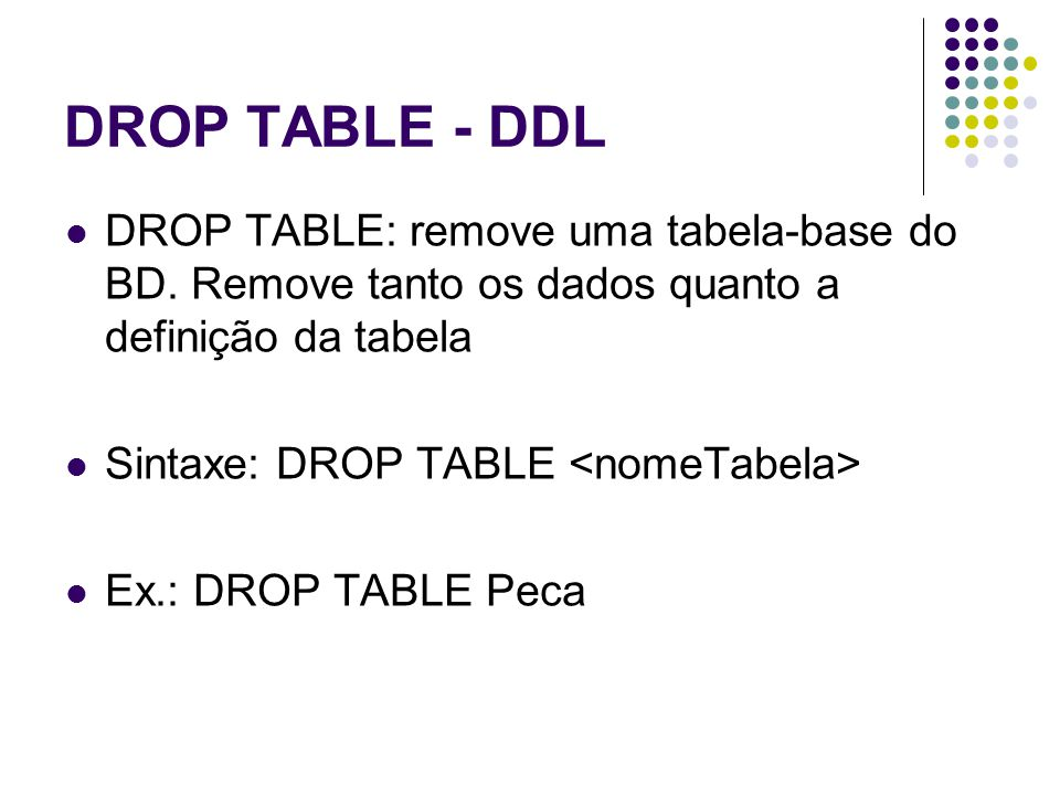 DROP TABLE - DDL DROP TABLE: remove uma tabela-base do BD. Remove tanto os dados quanto a definição da tabela.