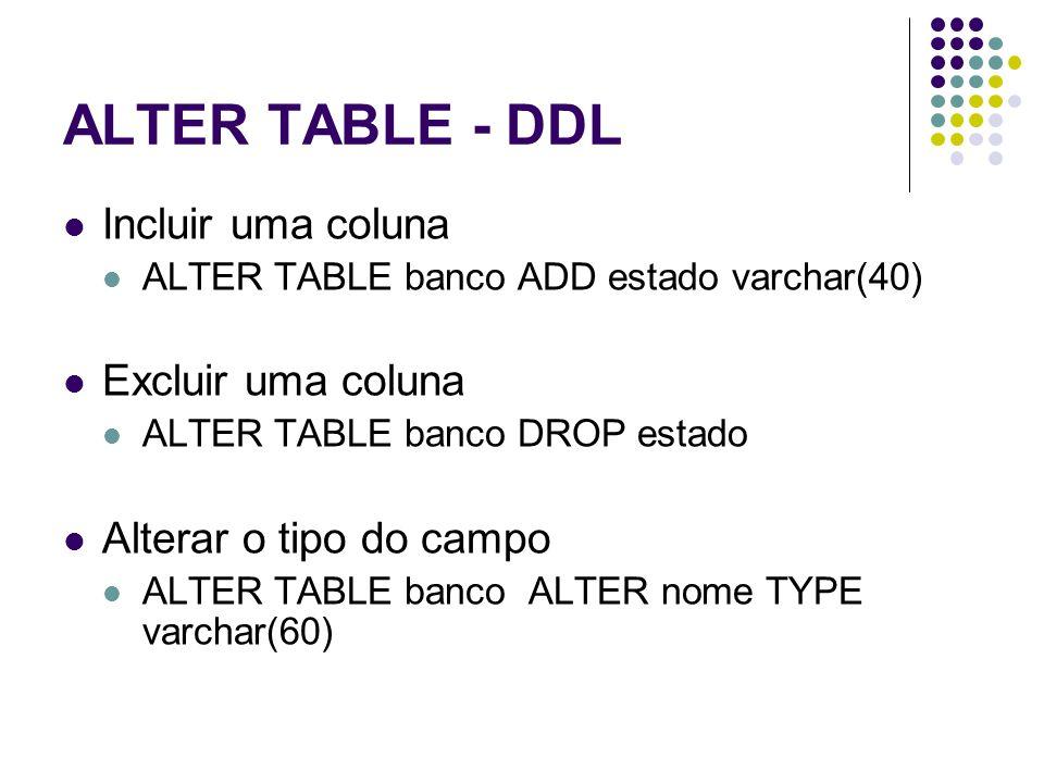 ALTER TABLE - DDL Incluir uma coluna Excluir uma coluna
