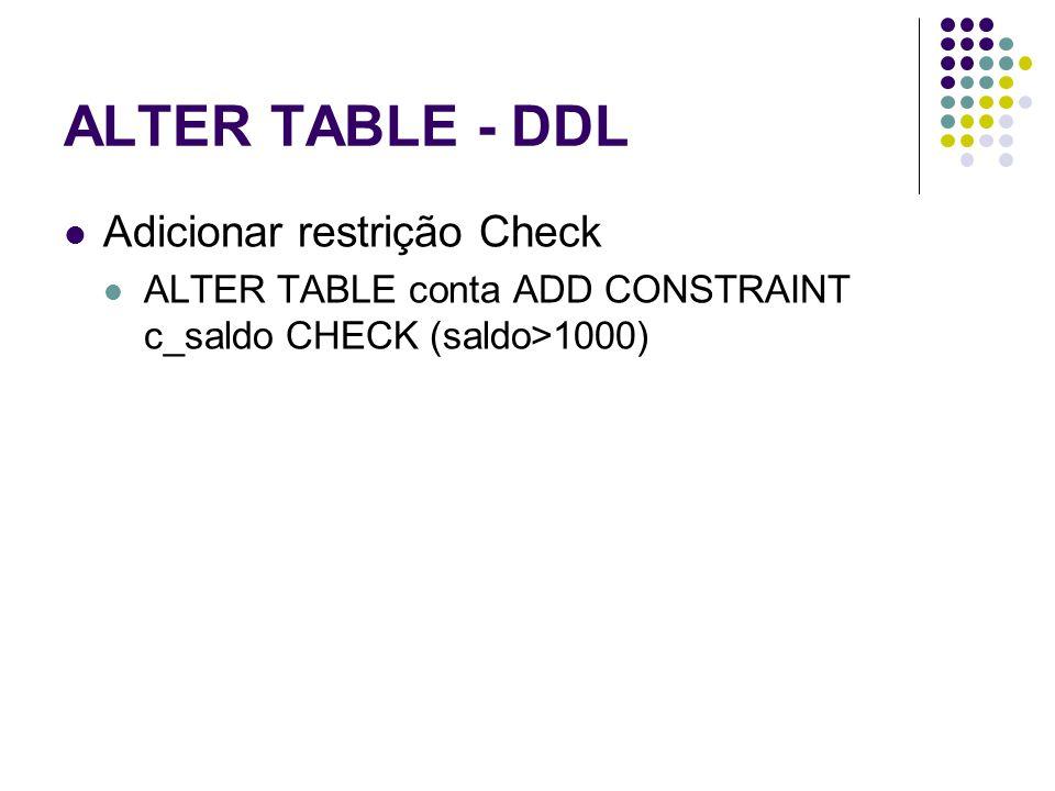 ALTER TABLE - DDL Adicionar restrição Check