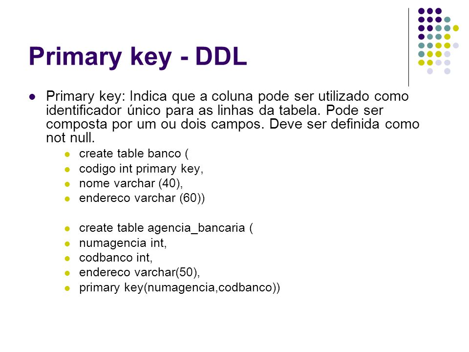 Primary key - DDL