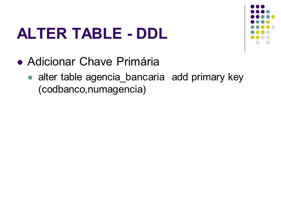 ALTER TABLE - DDL Adicionar Chave Primária