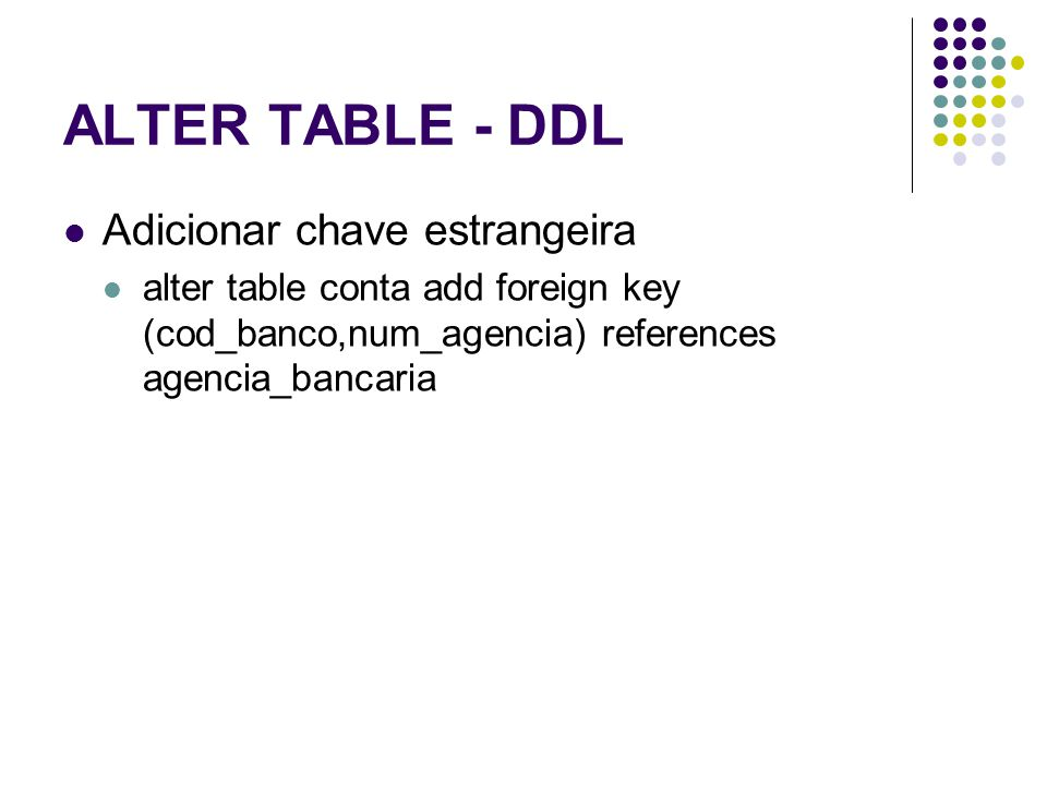 ALTER TABLE - DDL Adicionar chave estrangeira