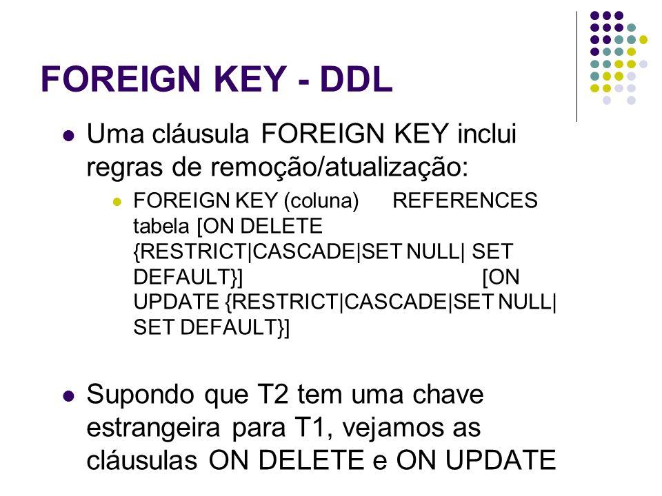 FOREIGN KEY - DDL Uma cláusula FOREIGN KEY inclui regras de remoção/atualização: