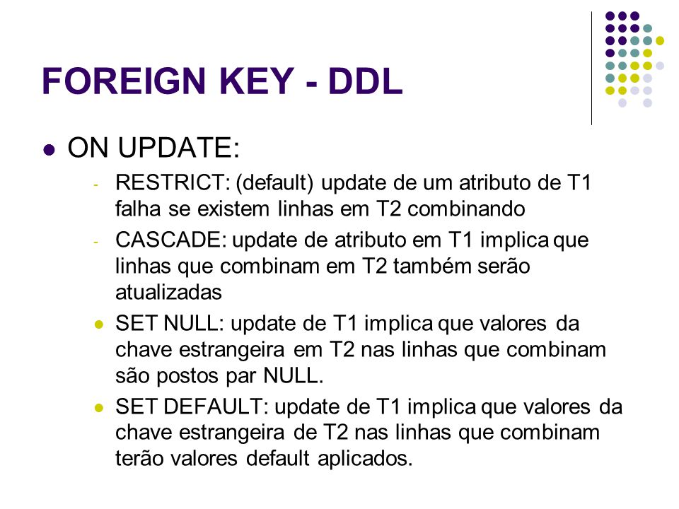 FOREIGN KEY - DDL ON UPDATE: