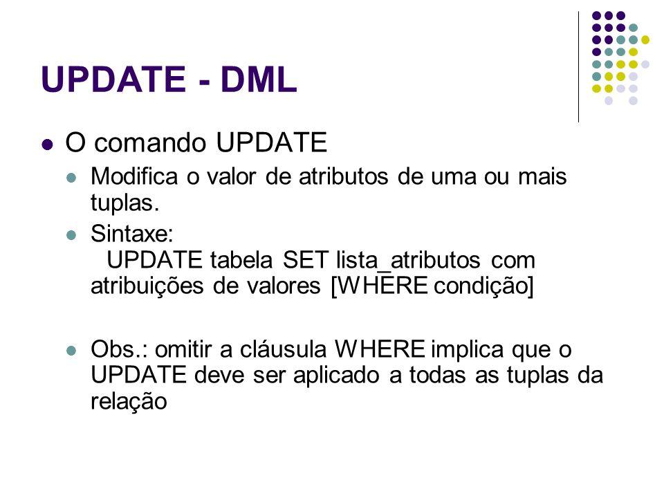 UPDATE - DML O comando UPDATE