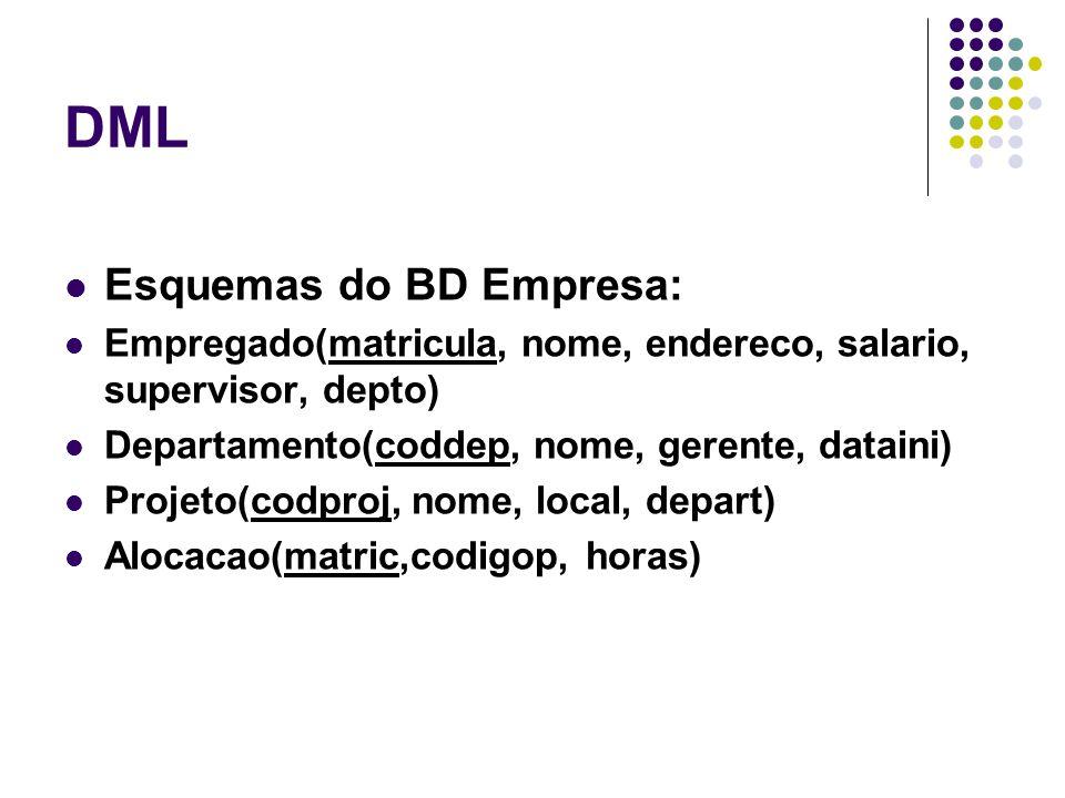 DML Esquemas do BD Empresa: