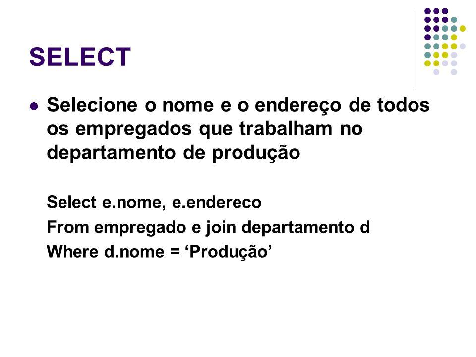 SELECT Selecione o nome e o endereço de todos os empregados que trabalham no departamento de produção.