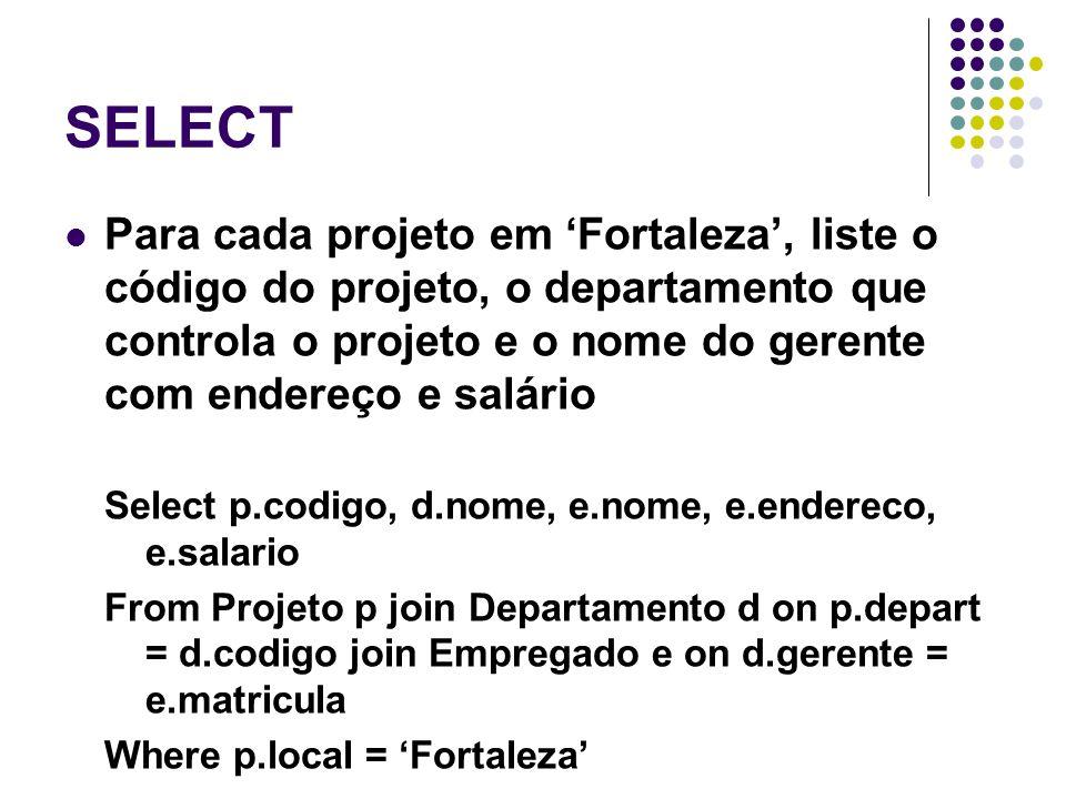 SELECT Para cada projeto em 'Fortaleza', liste o código do projeto, o departamento que controla o projeto e o nome do gerente com endereço e salário.