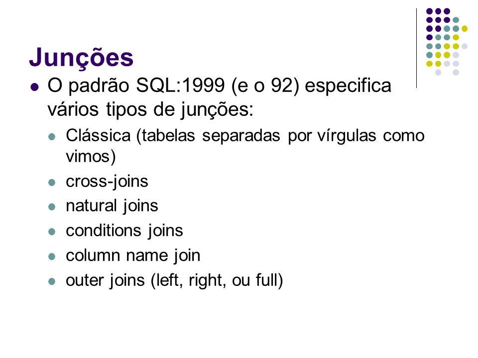 Junções O padrão SQL:1999 (e o 92) especifica vários tipos de junções: