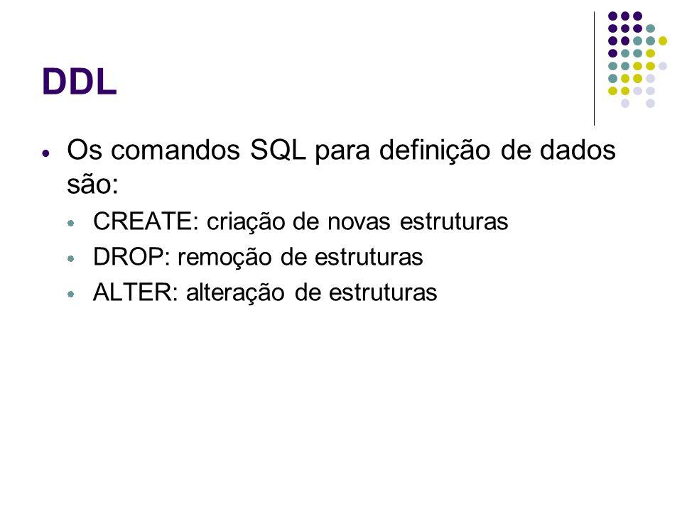 DDL Os comandos SQL para definição de dados são: