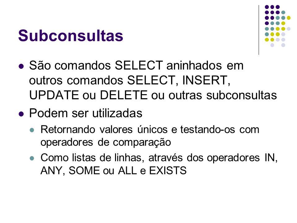 Subconsultas São comandos SELECT aninhados em outros comandos SELECT, INSERT, UPDATE ou DELETE ou outras subconsultas.