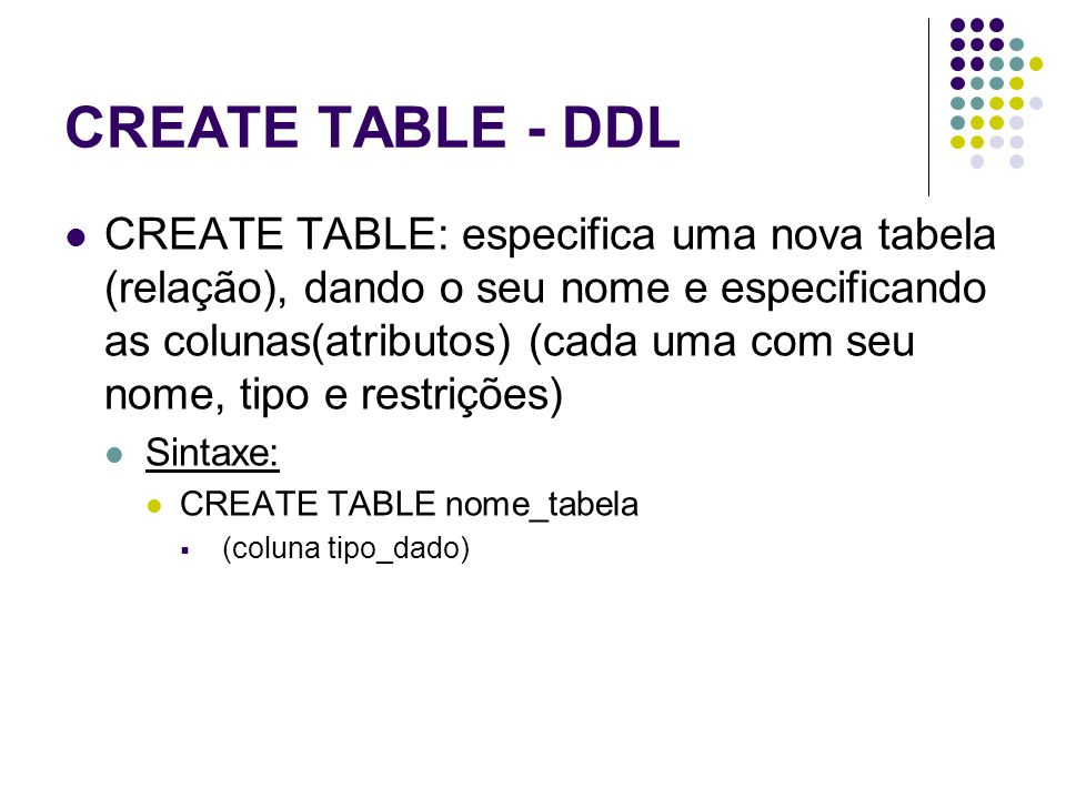 CREATE TABLE - DDL