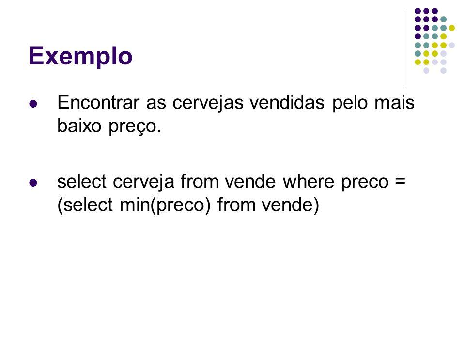 Exemplo Encontrar as cervejas vendidas pelo mais baixo preço.