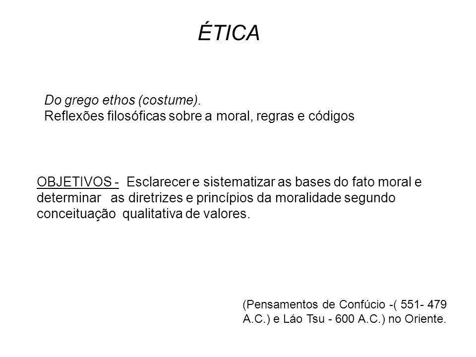 ÉTICA Do grego ethos (costume).