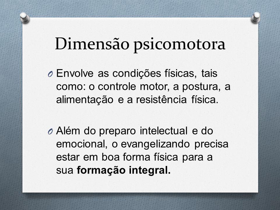 Dimensão psicomotora Envolve as condições físicas, tais como: o controle motor, a postura, a alimentação e a resistência física.