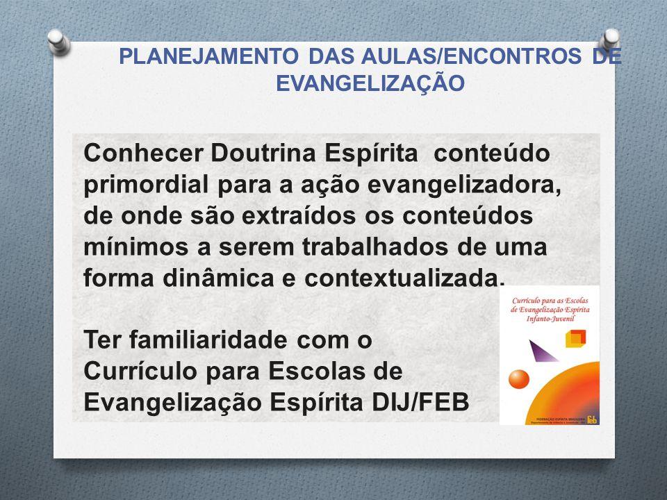PLANEJAMENTO DAS AULAS/ENCONTROS DE EVANGELIZAÇÃO