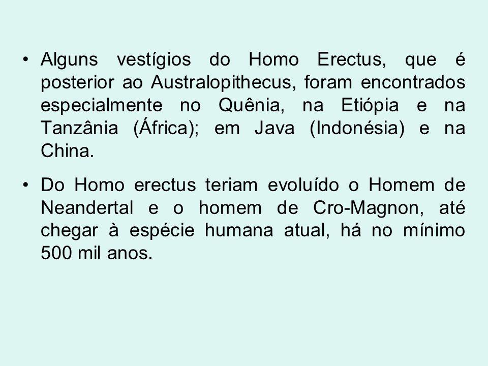 Alguns vestígios do Homo Erectus, que é posterior ao Australopithecus, foram encontrados especialmente no Quênia, na Etiópia e na Tanzânia (África); em Java (Indonésia) e na China.