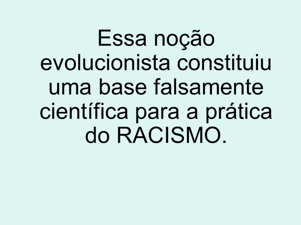 Essa noção evolucionista constituiu uma base falsamente científica para a prática do RACISMO.