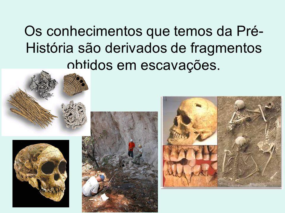 Os conhecimentos que temos da Pré-História são derivados de fragmentos obtidos em escavações.