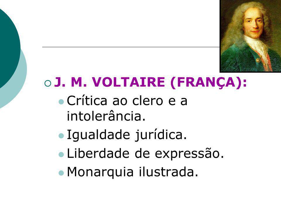 J. M. VOLTAIRE (FRANÇA): Crítica ao clero e a intolerância. Igualdade jurídica. Liberdade de expressão.