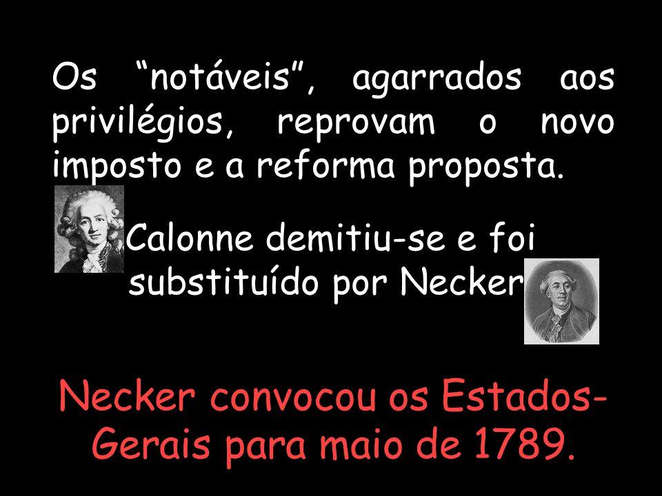 Necker convocou os Estados-Gerais para maio de 1789.