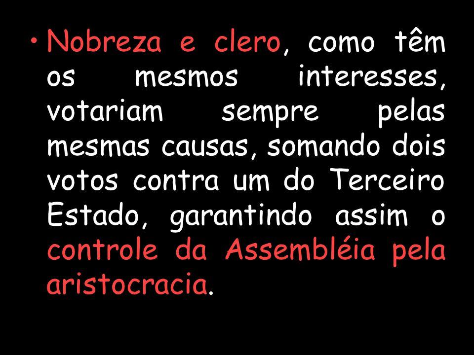 Nobreza e clero, como têm os mesmos interesses, votariam sempre pelas mesmas causas, somando dois votos contra um do Terceiro Estado, garantindo assim o controle da Assembléia pela aristocracia.