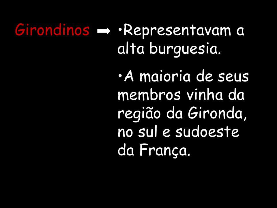 Girondinos Representavam a alta burguesia.