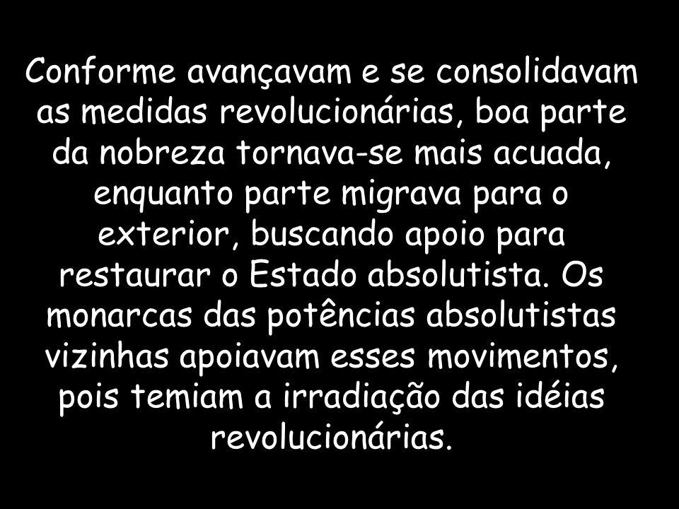 Conforme avançavam e se consolidavam as medidas revolucionárias, boa parte da nobreza tornava-se mais acuada, enquanto parte migrava para o exterior, buscando apoio para restaurar o Estado absolutista.