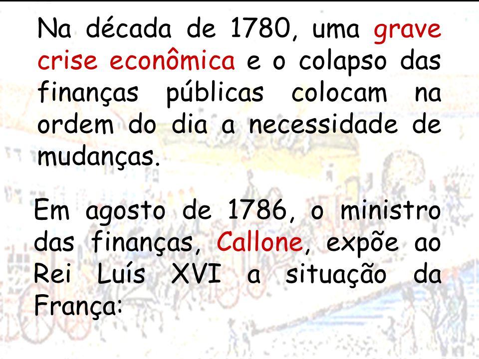 Na década de 1780, uma grave crise econômica e o colapso das finanças públicas colocam na ordem do dia a necessidade de mudanças.