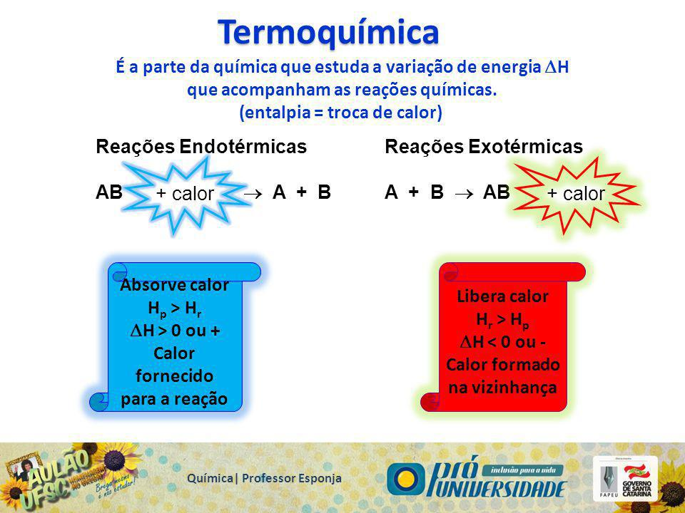 Termoquímica É a parte da química que estuda a variação de energia H