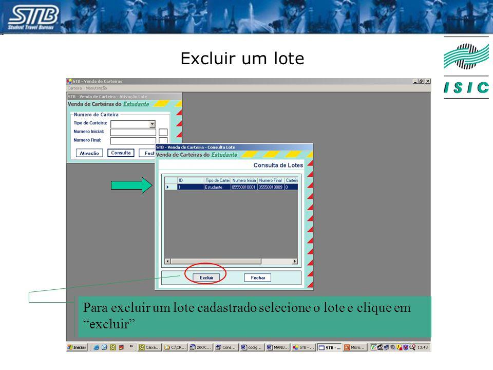 Excluir um lote Para excluir um lote cadastrado selecione o lote e clique em excluir