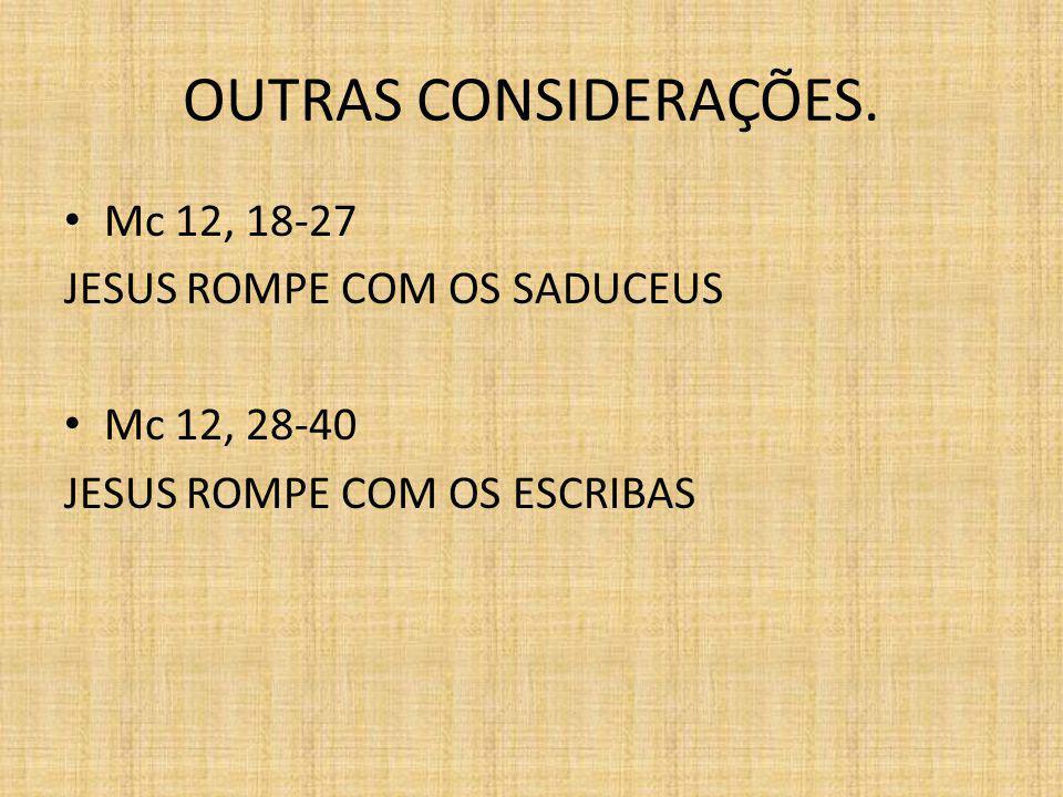OUTRAS CONSIDERAÇÕES. Mc 12, 18-27 JESUS ROMPE COM OS SADUCEUS