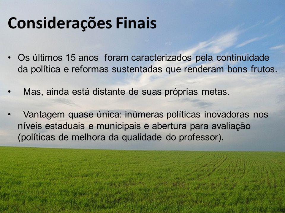 Considerações Finais Os últimos 15 anos foram caracterizados pela continuidade da política e reformas sustentadas que renderam bons frutos.