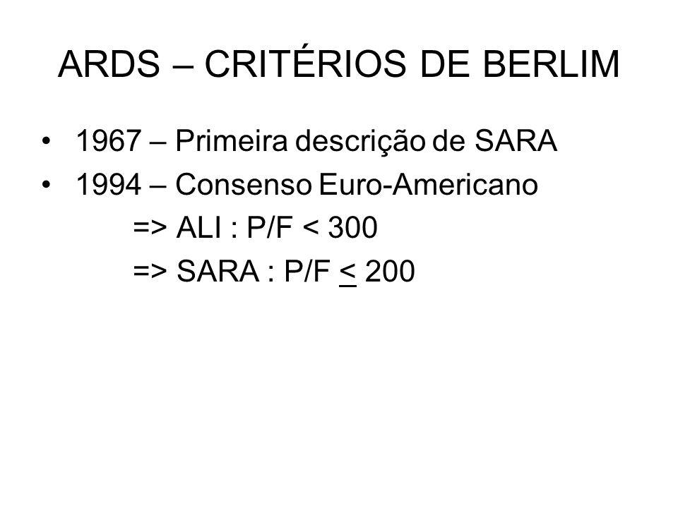 ARDS – CRITÉRIOS DE BERLIM