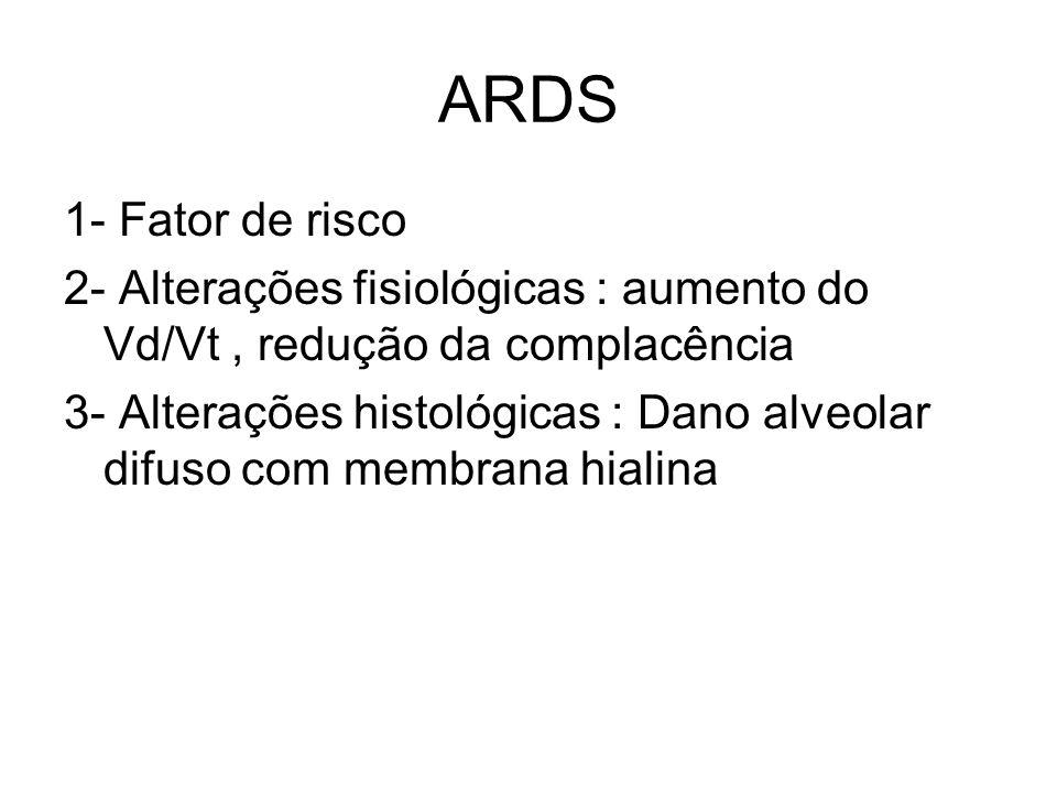 ARDS 1- Fator de risco. 2- Alterações fisiológicas : aumento do Vd/Vt , redução da complacência.