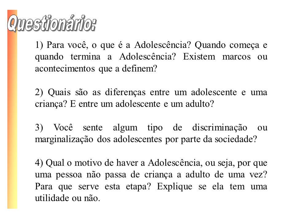 Questionário: 1) Para você, o que é a Adolescência Quando começa e quando termina a Adolescência Existem marcos ou acontecimentos que a definem