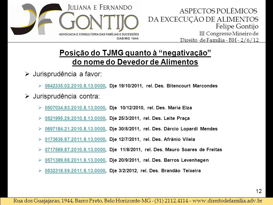 Posição do TJMG quanto à negativação do nome do Devedor de Alimentos