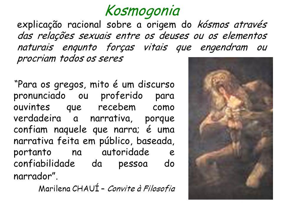 Kosmogonia explicação racional sobre a origem do kósmos através das relações sexuais entre os deuses ou os elementos naturais enqunto forças vitais que engendram ou procriam todos os seres
