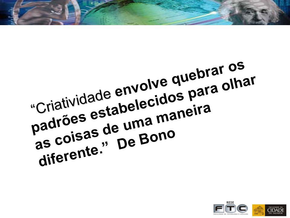 Criatividade envolve quebrar os padrões estabelecidos para olhar as coisas de uma maneira diferente. De Bono