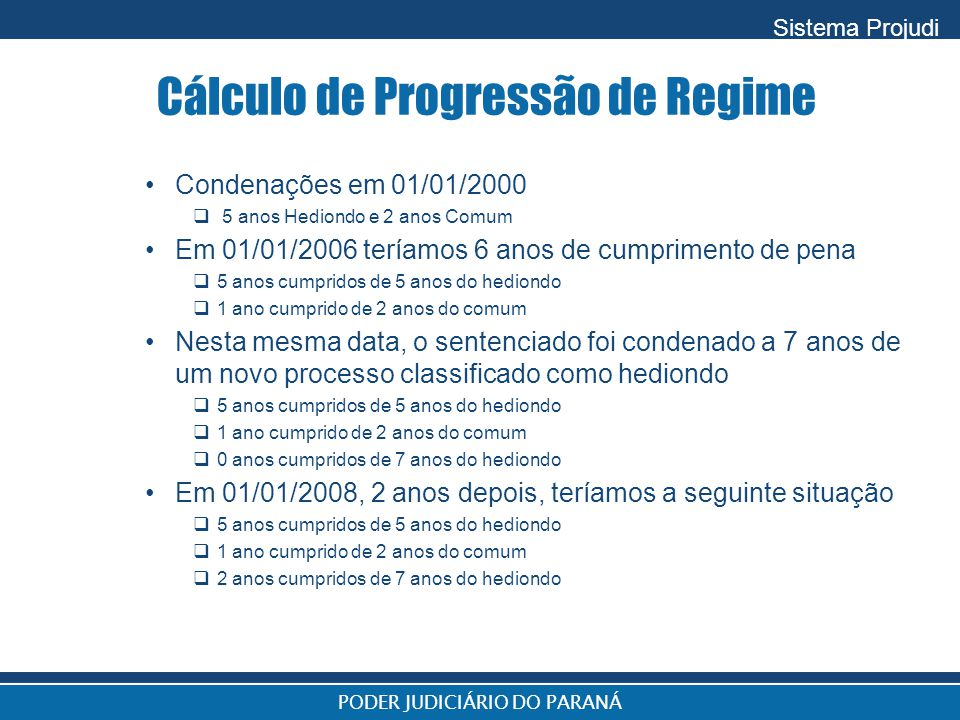 Cálculo de Progressão de Regime