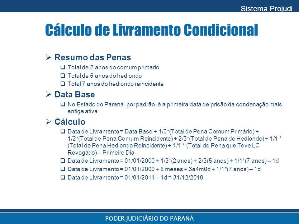 Cálculo de Livramento Condicional