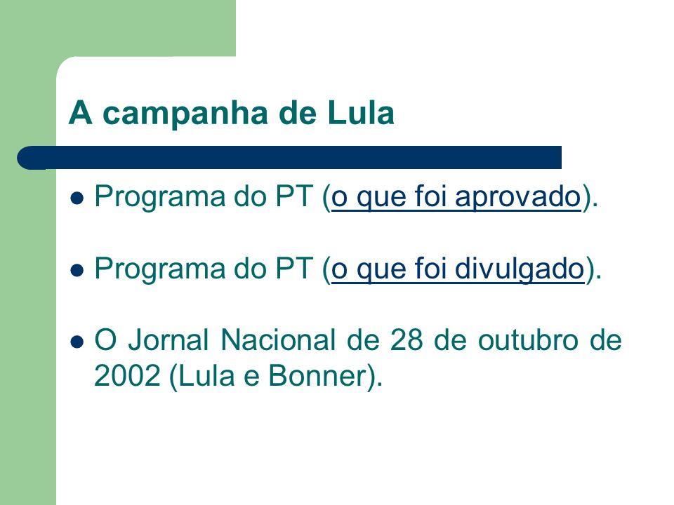 A campanha de Lula Programa do PT (o que foi aprovado).