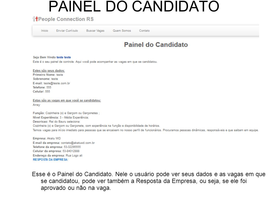 PAINEL DO CANDIDATO