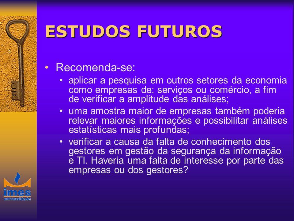 ESTUDOS FUTUROS Recomenda-se: