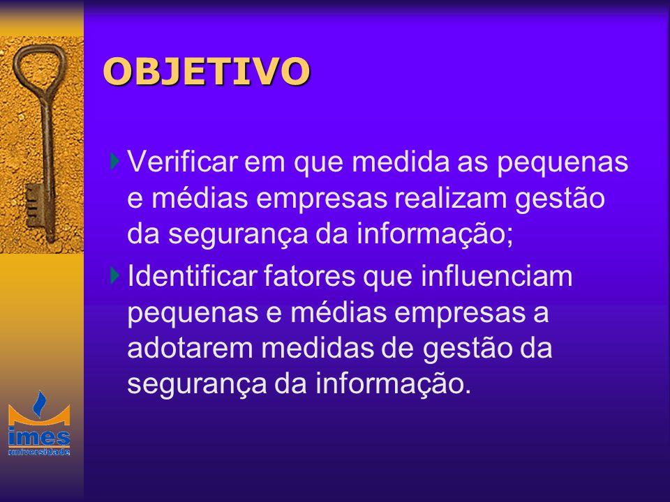 OBJETIVO Verificar em que medida as pequenas e médias empresas realizam gestão da segurança da informação;