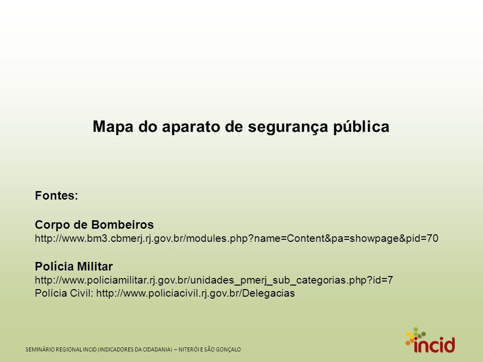 Mapa do aparato de segurança pública